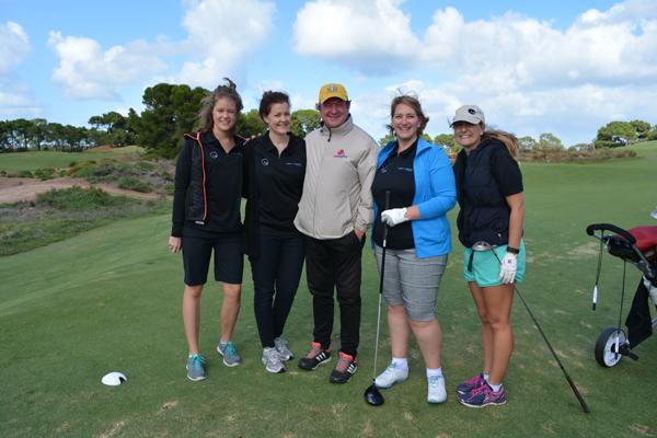 TGB PQSA Golf Day: Morgan Griffin, Louise Wallace, AFL legend Kevin Sheedy, TGB Partner Amber Sprague, TGB AssociateFiona Fagan.